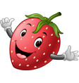 cute strawberry with face vector image vector image
