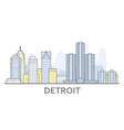 detroit cityscape michigan - city panorama of vector image vector image