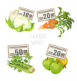 Farmers market with fresh organic vegetables and vector image