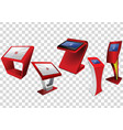 five red promotional interactive information kiosk vector image vector image