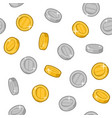gold and silver coins seamless pattern on white vector image vector image