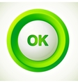Green plastic ok button vector image