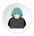 Hacker behind computer icon flat style vector image vector image