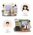 hair salon and barber shop composition set vector image
