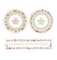 hand drawn italian food elements vector image vector image