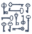 Hand drawn vintage keys collection vector image vector image