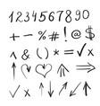 hand written marker pen signs symbols vector image