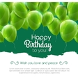 happy birthday card with green balloons vector image