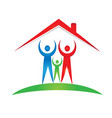 happy family inside home logo vector image vector image