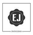 initial letter ej logo template design vector image