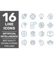machine learning and artificial intelligence icons vector image