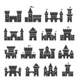 medieval ancient castle icon set black silhouette vector image