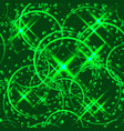 metallic stars and rings in green hues on a vector image vector image