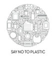 no plastic line icons emblem disposable tableware vector image vector image