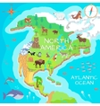 North America Isometric Map with Flora and Fauna vector image