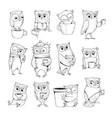 owl characters funny wild night birds with cup vector image vector image