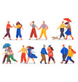 people wearing light and warm seasonal clothes vector image vector image