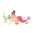 pretty mermaid with hair bun and pink fish tail vector image vector image