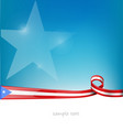 puerto rico ribbon flag on blue sky background vector image