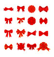 red bow icons set vector image