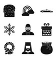 Religious symbolism icons set simple style