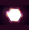 retro glowing neon shiny hexagon abstract vector image vector image