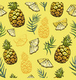 seamless pattern with pineapples and palm leaves vector image vector image