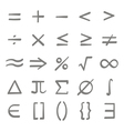 set monochrome icons with mathematical symbols vector image vector image