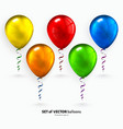 Set of colorful flying balloons with streamers vector image