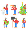 set with adult character with mustache in vector image vector image