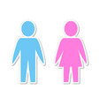 silhouette paper people man and woman blue and vector image