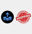 spend coins icon and distress shopping vector image vector image