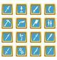 steel arms items icons set sapphirine square vector image vector image