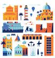 summer mediterranean sea town constructor vector image