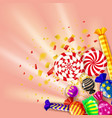 template different sweets colorful background set vector image