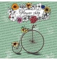 Vintage poster for flower shop design with old vector image vector image