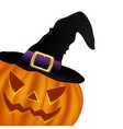 Wicked pumpkin for Halloween in a witches hat vector image vector image