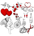 Hand Drawn Sketch of Valentine Icons vector image