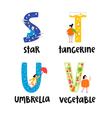 Alphabet letters s to v vector image vector image