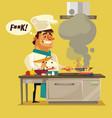 angry sad bad chef character burn food vector image