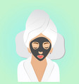 beautiful woman on spa treatments with black mask vector image vector image