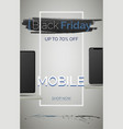 black friday mobile phone sale banner vector image