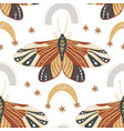 boho butterfly seamless pattern on a white vector image vector image