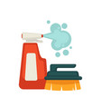 bottle of spray cleaner and brush with handle vector image vector image