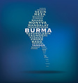 Burma map made with name of cities vector image