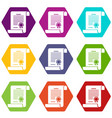 certificate icons set 9 vector image