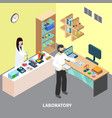 checking restaurant food isometric composition vector image vector image