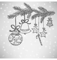 Christmas balls doodle vector image vector image