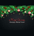 christmas tree branches fir-cones christmas toys vector image