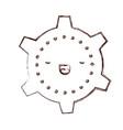 cogwheel kawaii caricature in blurred brown color vector image